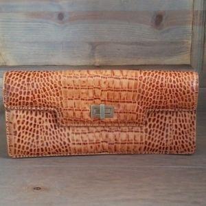 Antonio Melani Croc embossed leather clutch